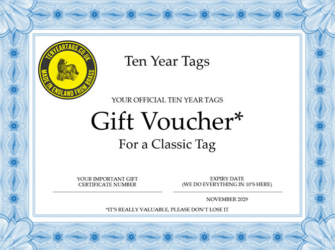 dog id tag gift voucher
